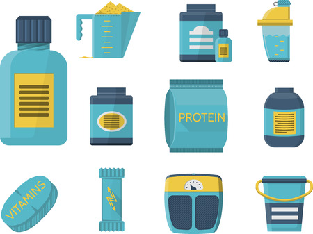 Flat blue icons vector collection of sport supplements set for sportsmen healthy nutrition and good growth.