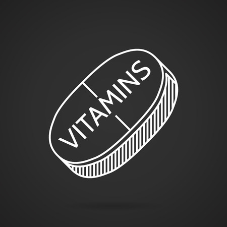 concentrate: White flat line vector icon for vitamin pill on black background. Concentrate of vitamins for health of the body.