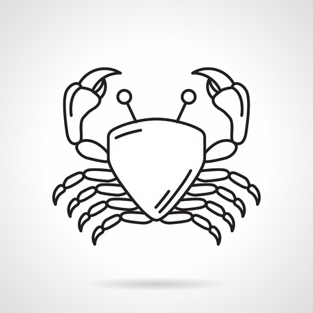 creatures: Flat black line vector icon for crab on white background. Wildlife sea creatures
