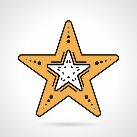 Flat design color vector icon for yellow starfish on white background. Wildlife sea creatures