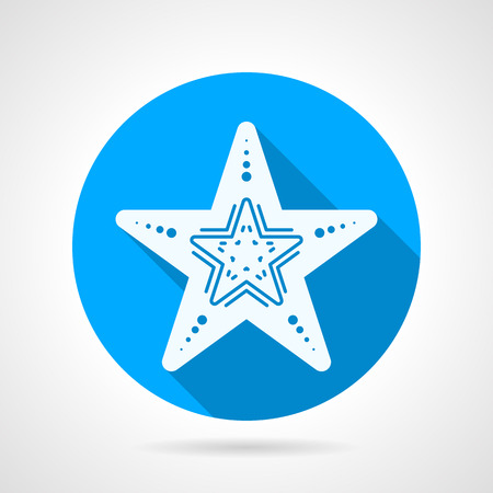 seafish: Flat blue round vector icon with white silhouette starfish on gray background. Long shadow design