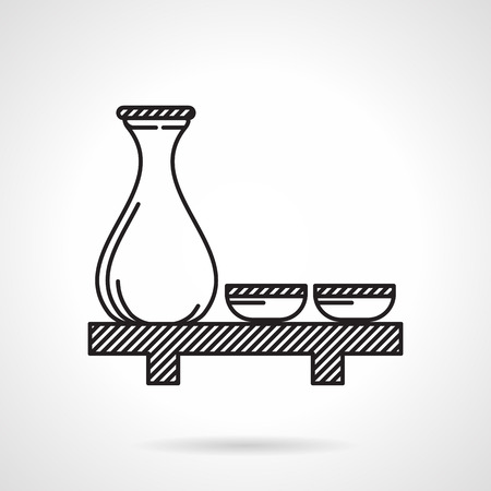 rice wine: Black flat line icon for glassware set on table for Japan traditional drink sake on white background.