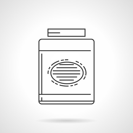 gain: Flat black line vector icon for gainer, sport supplements for gain muscle mass on white background.