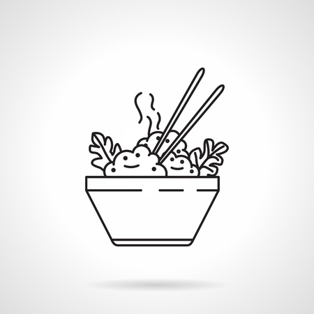 Black flat line vector icon for bowl with boiled rice and chopsticks on white background. Illustration