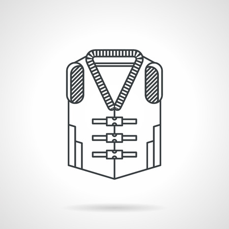 life jacket: Flat black line vector icon for life jacket on white background.
