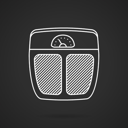 to weigh: Flat white line vector icon for analogue floor scales for weigh control on black background. Illustration