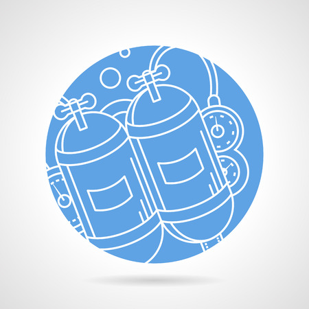 aqualung: Abstract flat blue round vector icon with white line aqualung on gray background.