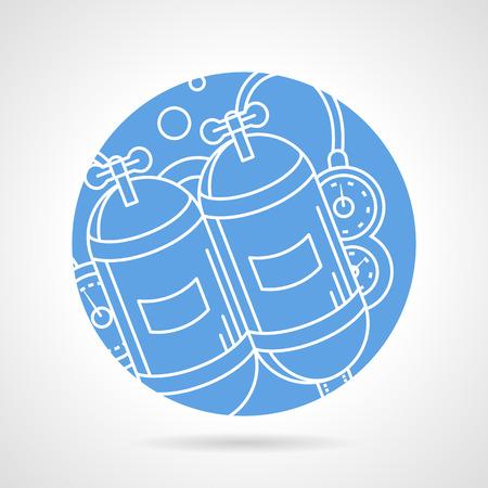 aqualung: Estratto piatto blu icone vettoriali rotondo con la linea bianca autorespiratore su sfondo grigio. Vettoriali