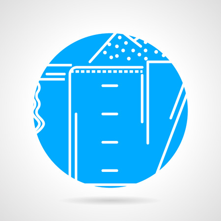 gainer: Abstract flat blue round vector icon with white line measure cup with supplements powder on gray background. Illustration