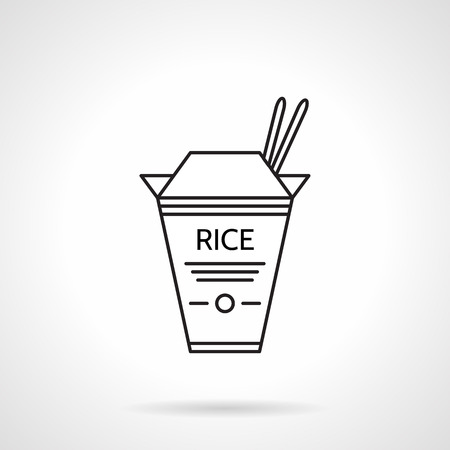 take out food container: Flat black line vector icon for box with rice and two chopstick on white background. Illustration