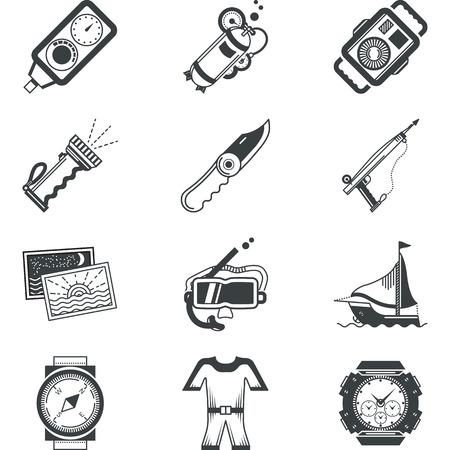 portative: Flat Black icone silhouette vettore per attrezzature subacquee e accessori su sfondo bianco. Vettoriali