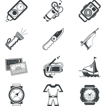 regulator: Flat black silhouette vector icons for diving equipment and accessory on white background.