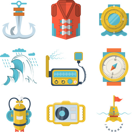 Set of flat color style vector icons for diving equipment and marine objects on white background. Vector