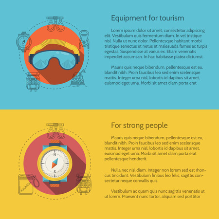 safety harness: Design elements for equipment and accessory for hike and mountaineering on colored backgrounds with sample text for your business or website. Flat vector illustration