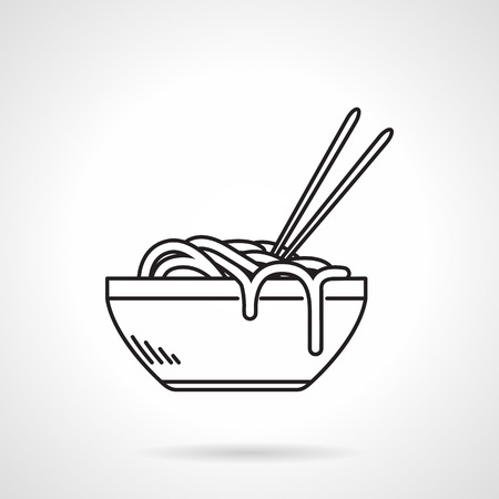 portion: Flat black line vector icon for portion noodles with two chopsticks on white background Illustration