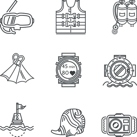 Set of black contour vector icons for diving equipment and objects on white background. Vector