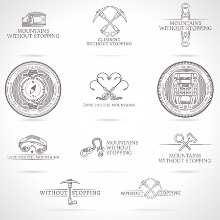 Design elements with gray vintage line style emblems collection for rock climbing, mountaineering or tourism business or website on gray background. Abstract vector illustration Illustration