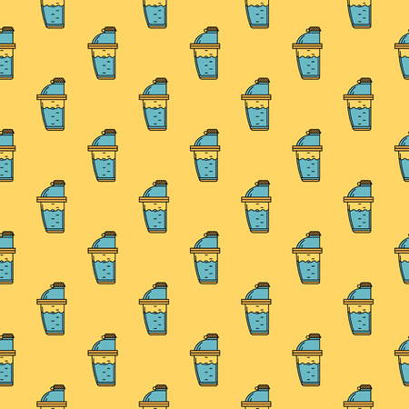 supplements: Seamless colored flat style vector pattern with shaker for sport supplements on yellow background. Illustration