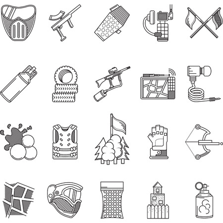 Set of black flat line vector icons for paintball and airsoft equipment and outfit on white background. Vector