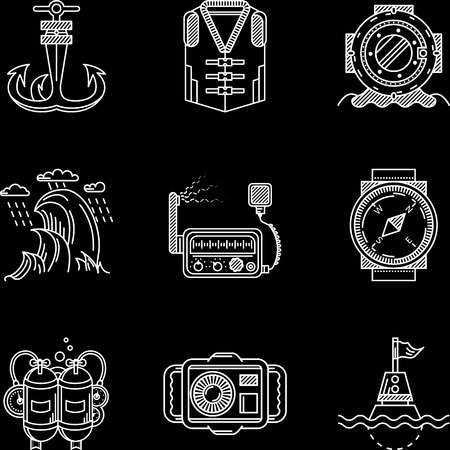 Set of white flat line vector icons for marine equipment and diving outfit on black background.