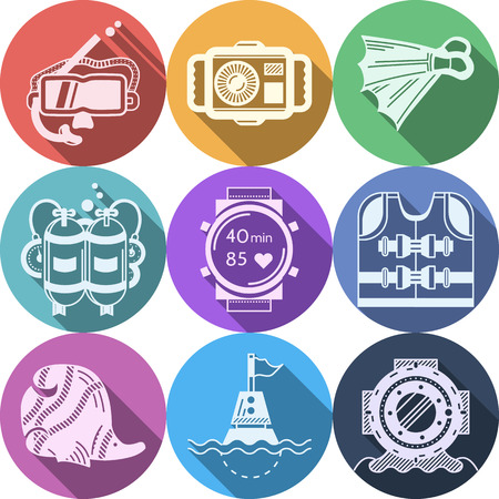 Set of round colorful flat vector icons with white silhouette diving outfit and accessory on white background. Long shadow design Vector
