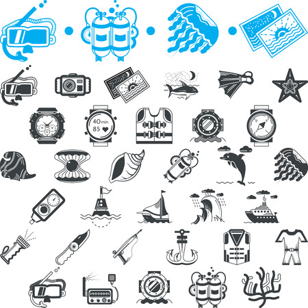 Set of blue and black vector icons for marine equipment, diving outfit and sea life on white background. Vector