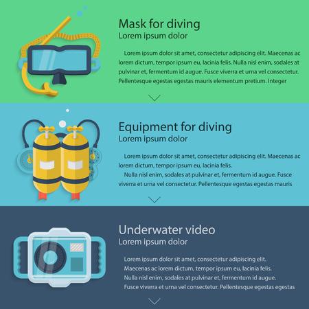aqualung: Elementi di design per maschera subacquea, autorespiratore giallo e fotocamera impermeabile su sfondi colorati con testo di esempio per il vostro business o sito web. Piatto illustrazione vettoriale
