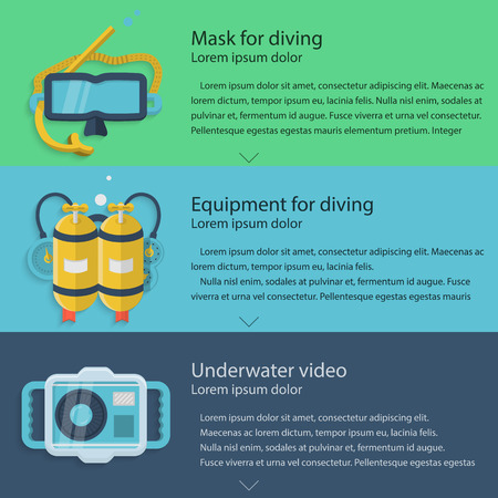 Design elements for diving mask, yellow aqualung and waterproof camera on colored backgrounds with sample text for your business or website. Flat vector illustration Illustration