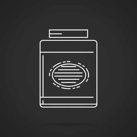 gainer: White line vector icon for gainer, sport supplements for gain muscle mass on black background.