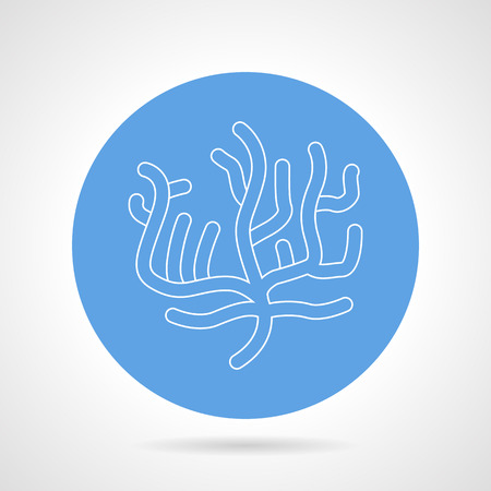 creatures: Blue round vector icon with white line coral on gray background. Undersea creatures Illustration