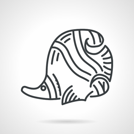 butterflyfish: Black line vector icon for butterflyfish a side view on white background. Underwater creatures