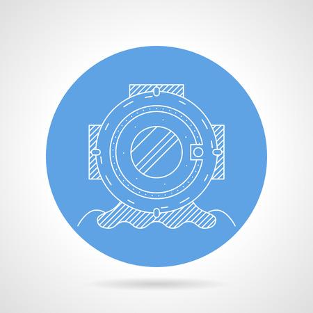 profundidad: Icono azul de vector ronda con la l�nea blanca de estilo antiguo casco de profundidad para el buceo en el fondo gris.