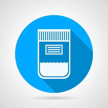 灰色の背景の上にラベルの白いシルエット尿サンプル コンテナーと青いベクトル アイコンを丸い。長い影デザイン