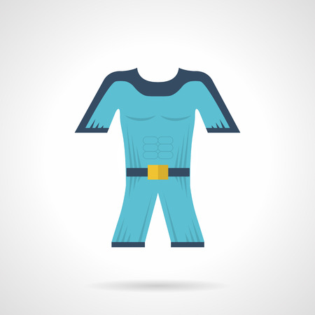 wetsuit: Flat color design vector icon for blue wetsuit for diving and snorkeling on white background. Illustration