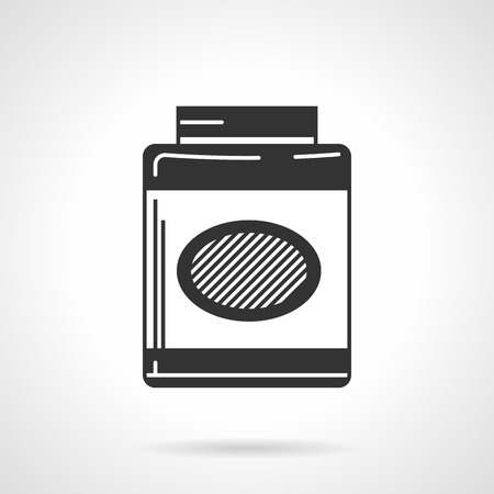 gain: Black contour vector icon for gainer, sport supplements for gain muscle mass on white background. Illustration