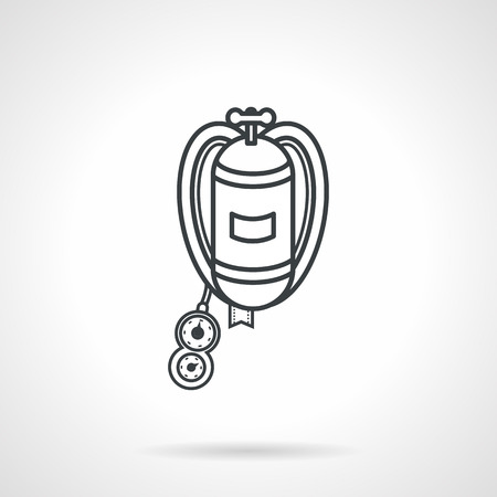 aqualung: Black flat line vector icon for diving aqualung on white background.