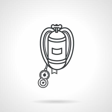 aqualung: Nero piatto vector icon linea per le immersioni autorespiratore su sfondo bianco.