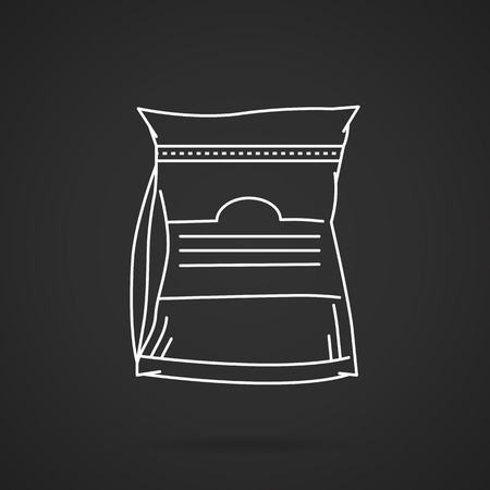 White flat line vector icon for glutamine sport supplements pack on black background. Vector