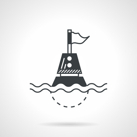 Abstract black contour vector icon for floating buoy with flag on white background.