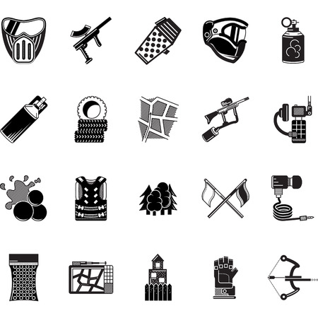 safety harness: Set of black style vector icons for paintball equipment, accessory and objects on white background. Illustration