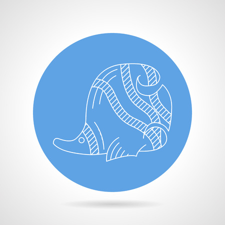 butterflyfish: Blue circle vector icon with white line butterfly-fish a side view on gray background Illustration