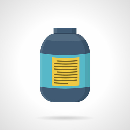 anaerobic: Flat style vector icon for creatine blue jar. Sports nutrition for increase strength, muscle mass and short-term anaerobic endurance on workout. Illustration