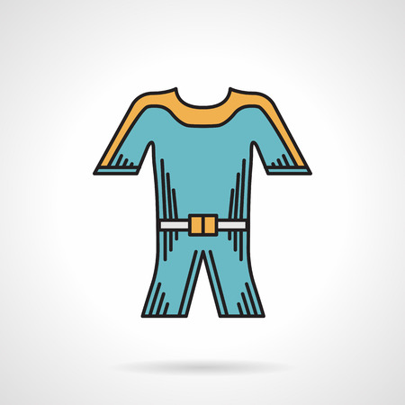 wetsuit: Colored flat design vector icon for blue wetsuit for diving and snorkeling on white background.