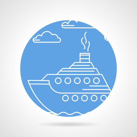 Round blue vector icon with white line passenger steam liner on gray background. Vector