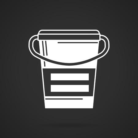 casein: Icono blanco del vector de contorno para reemplazar comidas y puede en el fondo negro. Nutrici�n deportiva saludable