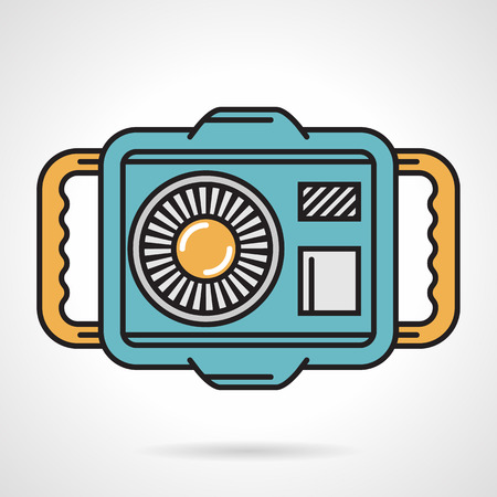 waterproof: Colored flat style vector icon for camera in waterproof case for diving and snorkeling on white background. Illustration