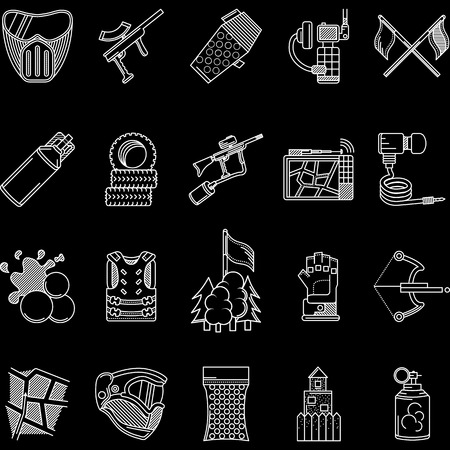 hopper: Set of flat white line vector icons for paintball objects on black background. Illustration