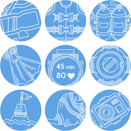 Set of round blue vector icons with white line elements for diving and snorkeling on white background. Vector