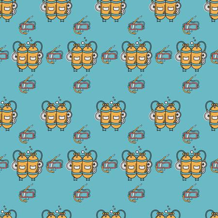 aqualung: Seamless color pattern con piatto maschera disegno immersioni e autorespiratore per il tempo libero su sfondo blu.