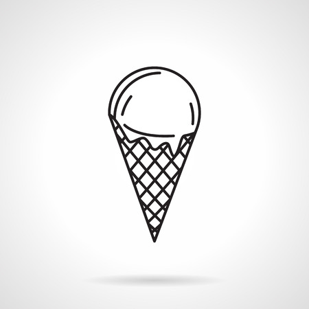 black and white cone: Black flat line vector icon for simple ice cream with cone waffle on white background.